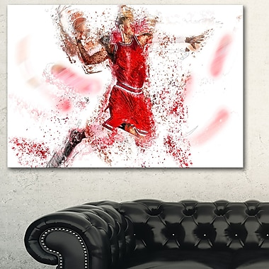 Basketball Slam Dunk Metal Wall Art, 28x12, (MT2526-28-12)