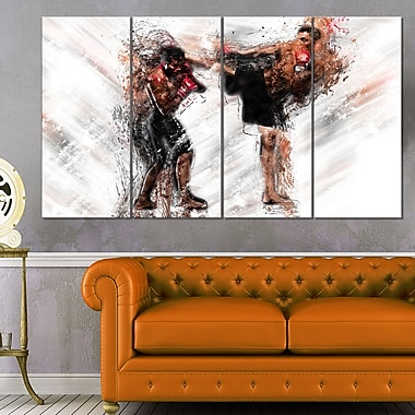 Kick Boxing Side Kick Metal Wall Art, 48x28, 4 Panels, (MT2527-271)