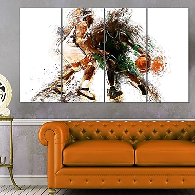 Basketball Let's Go Defense Metal Wall Art, 48x28, 4 Panels, (MT2530-271)