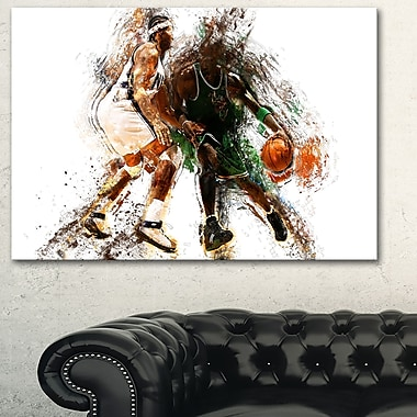 Basketball Let's Go Defense Metal Wall Art, 28x12, (MT2530-28-12)