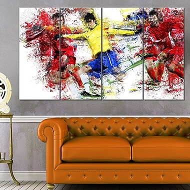Soccer Break Away Metal Wall Art, 48x28, 4 Panels, (MT2531-271)