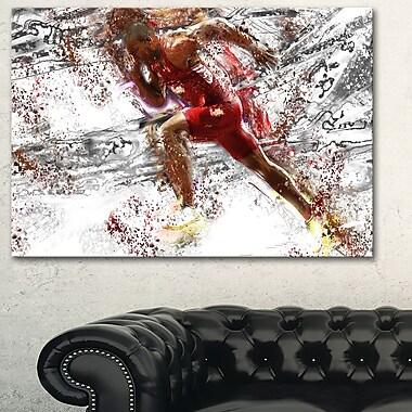 Art mural en métal, équipe piste faisant la course, 28 x 12 po (MT2536-28-12)