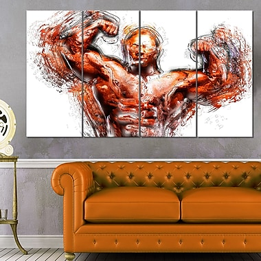 Body Building Lean Out Metal Wall Art, 48x28, 4 Panels, (MT2543-271)