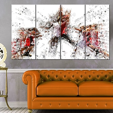 Basketball Jump Shot Metal Wall Art, 48x28, 4 Panels, (MT2547-271)