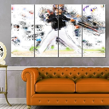 Baseball Home Run Metal Wall Art, 48x28, 4 Panels, (MT2549-271)