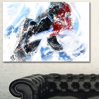 Snow Boarder Down Hill, art mural en métal, 28 x 12 (MT2550-28-12)