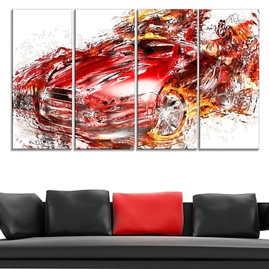 Flaming Red Sports Car Metal Wall Art