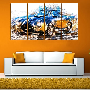 Blue and Orange Roadster Metal Wall Art