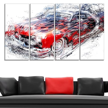 American Burn Out Car Metal Wall Art, 48x28, 4 Panels, (MT2606-271)