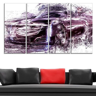 Black Convertible Car Metal Wall Art, 48x28, 4 Panels, (MT2610-271)