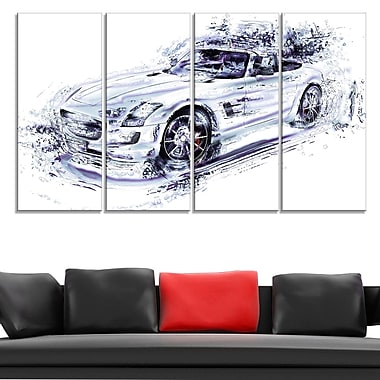 White Convertible Car Metal Wall Art, 48x28, 4 Panels, (MT2611-271)