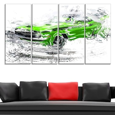 Green American Classic Car Metal Wall Art, 48x28, 4 Panels, (MT2612-271)