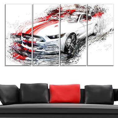 White & Red Sports Car Metal Wall Art