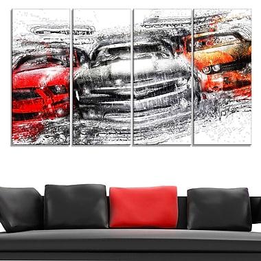 American Street Race Metal Wall Art, 48x28, 4 Panels, (MT2615-271)
