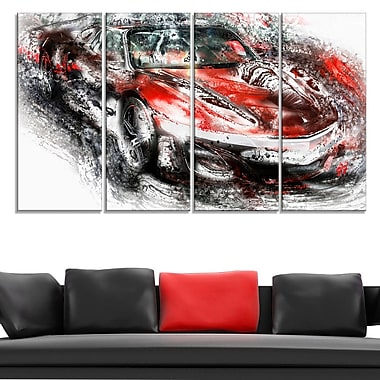 Black and Red Sports Car Metal Wall Art