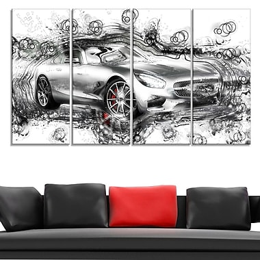Abstract Grey Luxury Car Metal Wall Art, 48x28, 4 Panels, (MT2619-271)