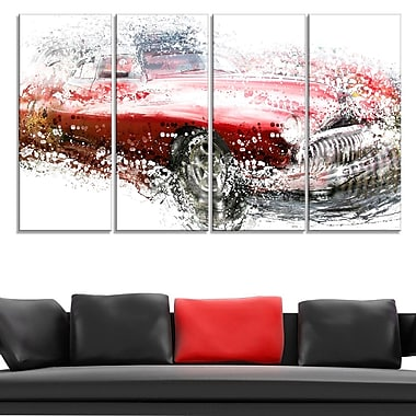 Red Classic Luxury Car Metal Wall Art, 48x28, 4 Panels, (MT2620-271)