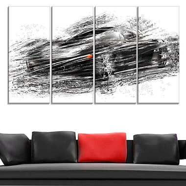 Black Sports Car Metal Wall Art, 48x28, 4 Panels, (MT2621-271)