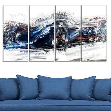 Black Speedster Car Metal Wall Art, 48x28, 4 Panels, (MT2623-271)