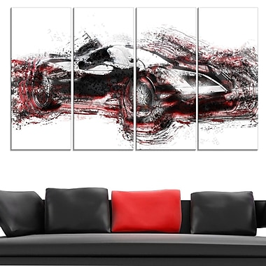 Modern Super Car Metal Wall Art, 48x28, 4 Panels, (MT2625-271)
