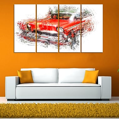 Orange Classic Car Metal Wall Art, 48x28, 4 Panels, (MT2626-271)