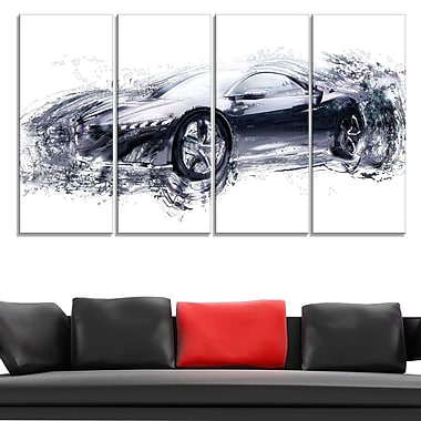 Sleek Black Exotic Car Metal Wall Art, 48x28, 4 Panels, (MT2627-271)