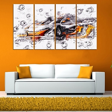 Black and Orange Exotic Car Metal Wall Art, 48x28, 4 Panels, (MT2628-271)