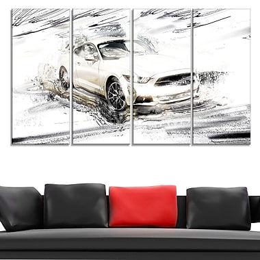 Super Charged White Muscle Car Metal Wall Art, 48x28, 4 Panels, (MT2629-271)
