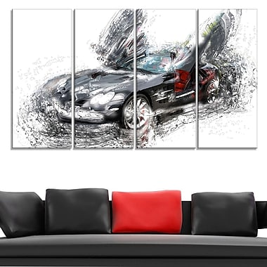 Black Luxury Super Car Metal Wall Art, 48x28, 4 Panels, (MT2630-271)