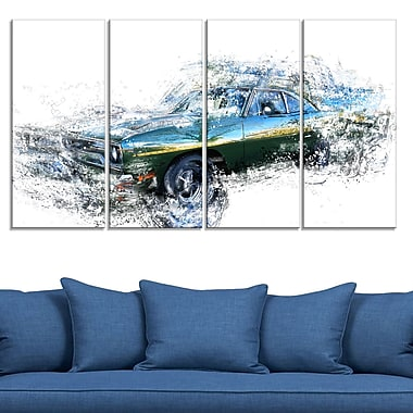 Blue and Green Muscle Car, art mural en métal, 48 x 28, 4 panneaux (MT2633-271)