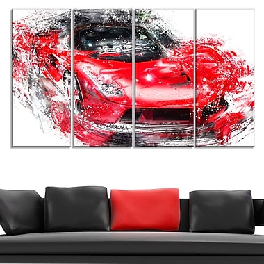 Red Exotic Car Metal Wall Art, 48x28, 4 Panels, (MT2634-271)