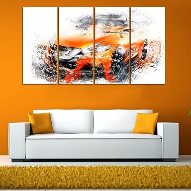 Orange Rally Car, art mural en métal, 48 x 28, 4 panneaux (MT2635-271)