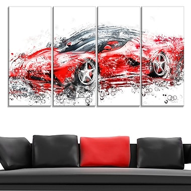 Sleek Red Sports Car, art mural en métal, 48 x 28, 4 panneaux (MT2636-271)