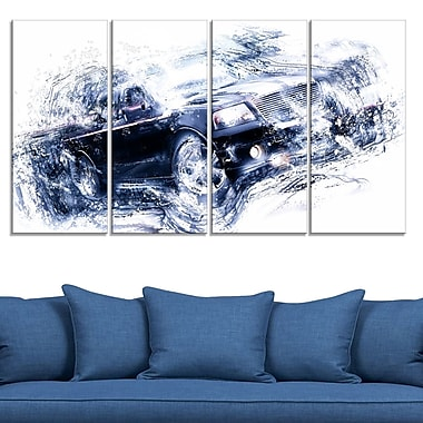 Black Luxury Car Metal Wall Art, 48x28, 4 Panels, (MT2637-271)