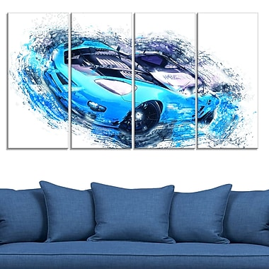 Sky Blue and Black Sports Car Metal Wall Art, 48x28, 4 Panels, (MT2640-271)