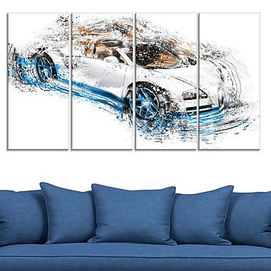 White and Blue Convertible Metal Wall Art, 48x28, 4 Panels, (MT2641-271)