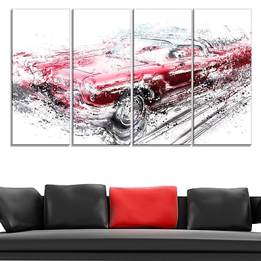 Red Low Rider Convertible Metal Wall Art, 48x28, 4 Panels, (MT2642-271)