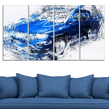 Blue Tuner Car Metal Wall Art, 48x28, 4 Panels, (MT2645-271)