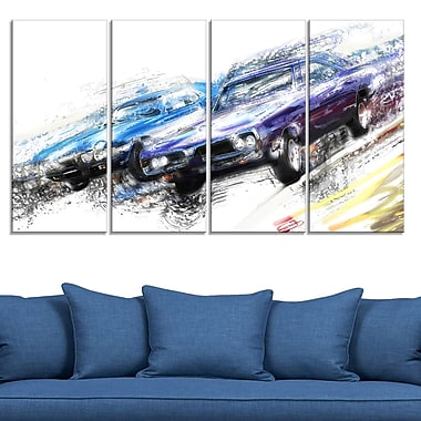 Finish Line Muscle Car Race Metal Wall Art, 48x28, 4 Panels, (MT2647-271)