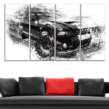 Black and White Muscle Car Metal Wall Art, 48x28, 4 Panels, (MT2650-271)