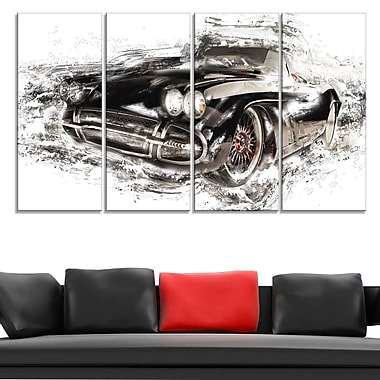 Black Convertible Roadster Metal Wall Art, 48x28, 4 Panels, (MT2651-271)