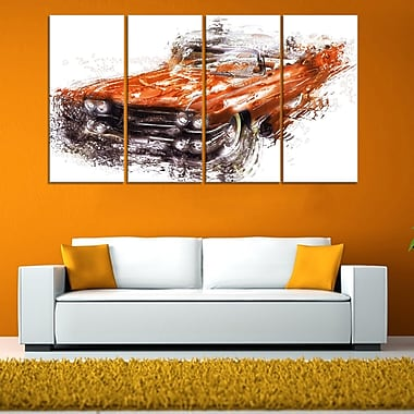 Burnt Orange Classic Car Metal Wall Art, 48x28, 4 Panels, (MT2652-271)