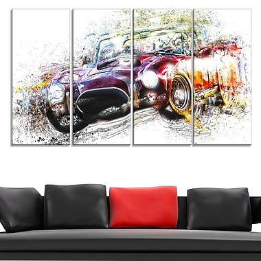 Colourful Abstract Convertible Car Metal Wall Art, 48x28, 4 Panels, (MT2654-271)