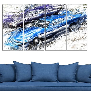 Blue and Purple Muscle Cars Metal Wall Art, 48x28, 4 Panels, (MT2658-271)