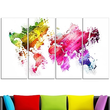 Colours of the World Map Metal Wall Art, 48x28, 4 Panels, (MT2707-271)