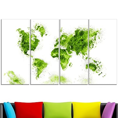 Green Map Metal Wall Art, 48x28, 4 Panels, (MT2708-2-271)