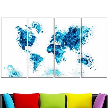 Blue Map Metal Wall Art, 48x28, 4 Panels, (MT2708-3-271)