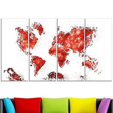 Red Map Metal Wall Art, 48x28, 4 Panels, (MT2708-5-271)