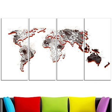 Red and Grey Map Metal Wall Art, 48x28, 4 Panels, (MT2712-271)