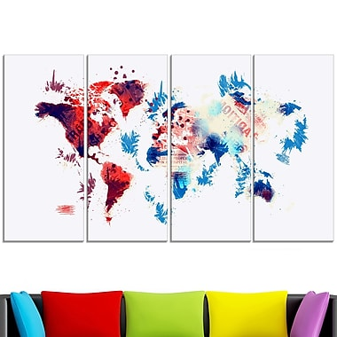 Red and Blue Map Metal Wall Art, 48x28, 4 Panels, (MT2716-271)